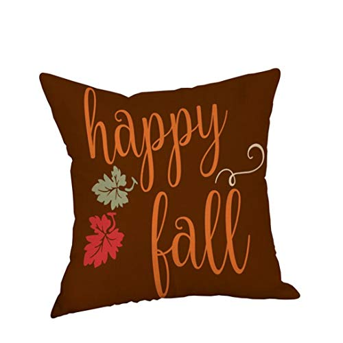 GREFER New Pillowcases Pillow Cases Linen Sofa Cushion Cover Home Decor Happy Halloween Thanksgiving Christmas (E)