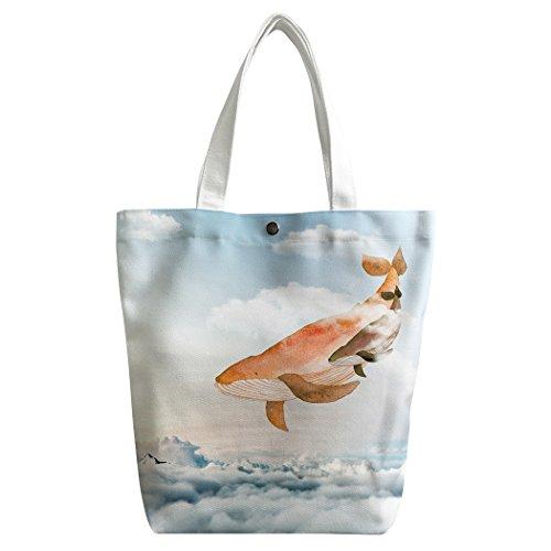 Giraffe Hobo (SXCHEN Custom Women Canvas Bags Shoulder Bag Handbag Lunch Bag Giraffe Fly In The Air Clouds)