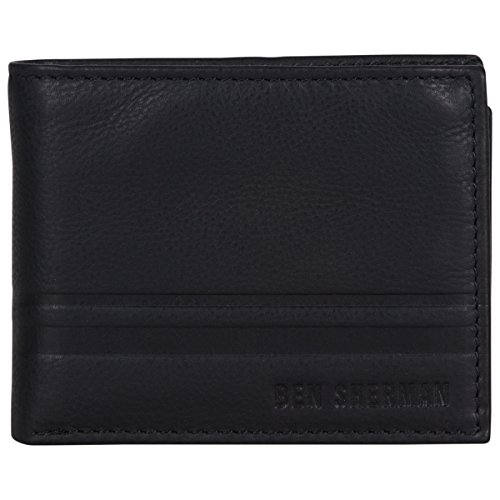 - Ben Sherman Men's Leather Nine Pocket Passcase Wallet with Id Window (RFID), Black
