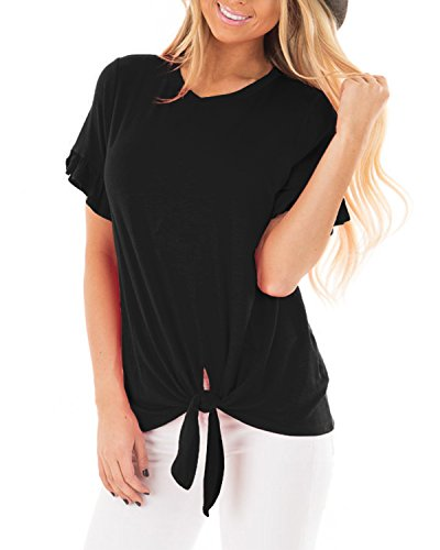 Ivory Flutter Sleeve Top - Pneacimi Casual Ruffle Short Sleeve Knot Tie Front Loose Fit Top Tee T-Shirt Blouses for Women (Black Shirt, L)
