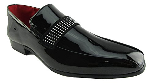 Rossellini Rimini Mens Moccasin Shoes Black Shiny Leather Lined Heel Loafer 41 3aCh2