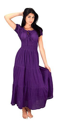 Peach Couture Gypsy Boho Cap Sleeves Smocked Waist Tiered Renaissance Maxi Dress (Medium, Purple)