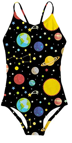 AIDEAONE Girls Bathing Suits for Kids Galaxy Leotard Swimsuits One Piece -