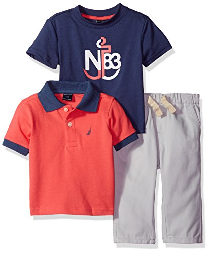 nautica-baby-boys-short-sleeve-polo-and-tee-three-piece-set-guava-12-months