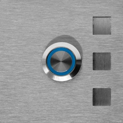 LED blau Jung Edelstahl Design T/ürklingel Edelstahl 7 X 7 cm K/öln Led Taster Lasergravur Klingelplatte Klingel