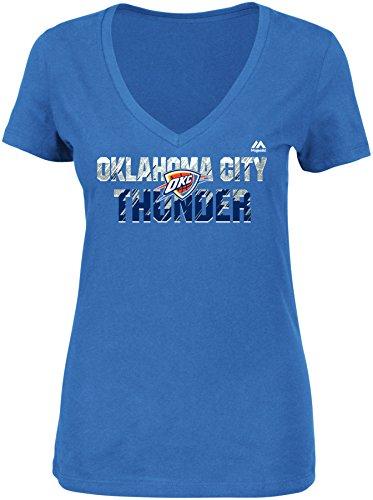 NBA Oklahoma City Thunder Women's Get Aggressive Short Sleeve V-Neck Tee, Large, Sport Blue