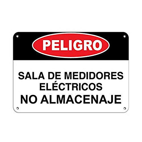 Uptell Personalized Metal Signs for Outdoors Peligro Sala De Medidores El233;ctricos No Almacenaje Metal Sign 8 X 12 Inch