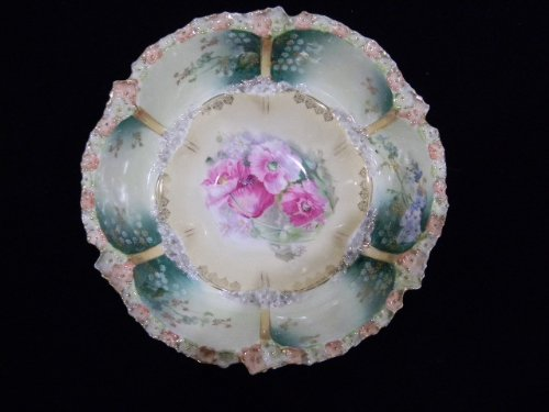 R.S. Prussia Vintage Hand Painted China Scalloped Bowl from 1800's
