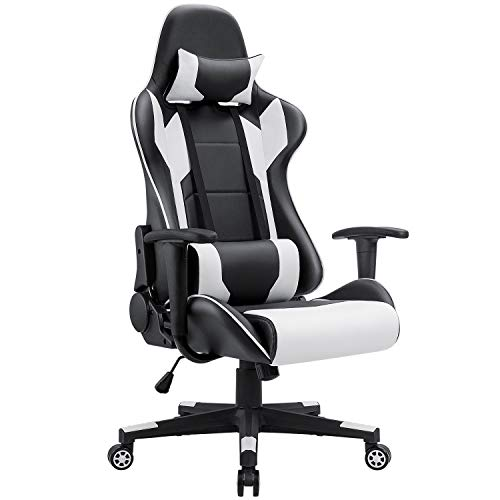 Cushion Swivel Leather Recliner Like (Homall Gaming Chair Racing Style High-Back PU Leather Office Chair Computer Desk Chair Executive and Ergonomic Style Swivel Chair with Headrest and Lumbar Support (White))