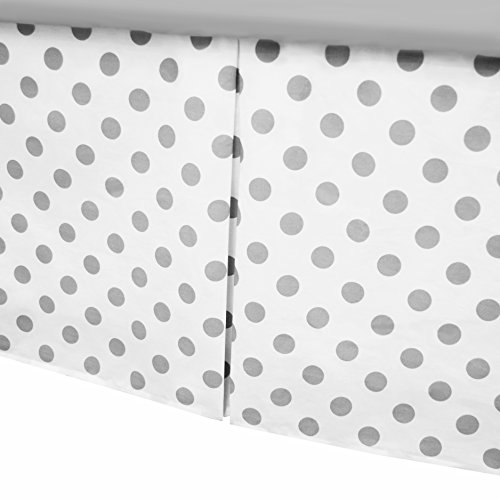 Crib Dust Ruffle - American Baby Company 100% Cotton Tailored Crib Skirt with Pleat, White with Gray Dot