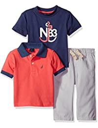 Nautica Baby Boys' Short Sleeve Polo and Tee Three Piece Set