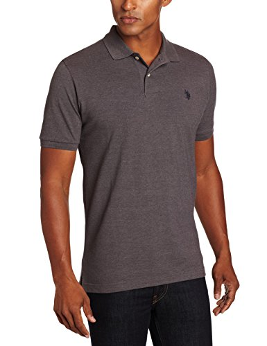 U.S. Polo Assn. Men's Classic Polo Shirt, Dark Grey Heather/ Black, -