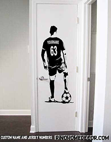 Soccer Wall Decal - Custom Name Soccer footaball Wall art - Choose NAME & JERSEY NUMBERS personalized Large Player jersey Vinyl sticker decor kids boy bedroom
