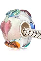 Everbling Love Goes Round Hearts Murano Glass Bead Fits Pandora Charm Bracelet