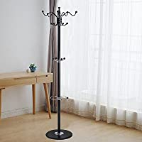 Coat & Hat Racks 15 Hooks 70 Metal Coat Hat Jacket Stand Tree Holder Hanger Rack w/ Marble Base