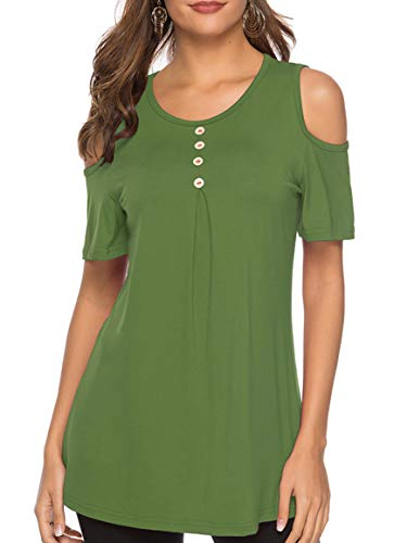 PINSV Women's Tops Cold Shoulder Short Sleeve Casual Round Neck Loose Blouse Shirts Green L