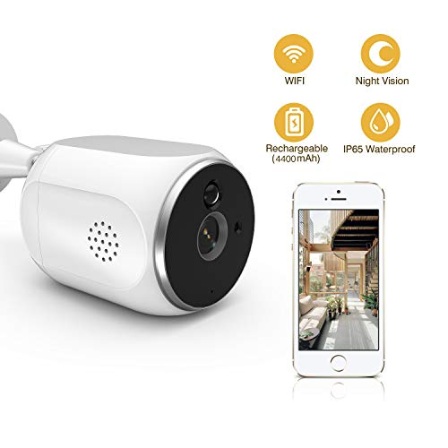[2019 New] Outdoor Wireless Security Camera eLinkSmart 720P WiFi IP Camera Waterproof Chargeable Long Standby Night Vision PIR Motion Detection Two-Way Audio, Remote Access from Smartphone