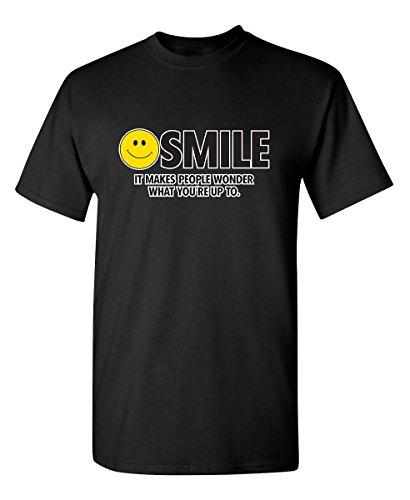 (Feelin Good Tees Smile It Makes People Wonder Emoticon Smile Face Sarcastic Cool Funny T Shirt M Black)