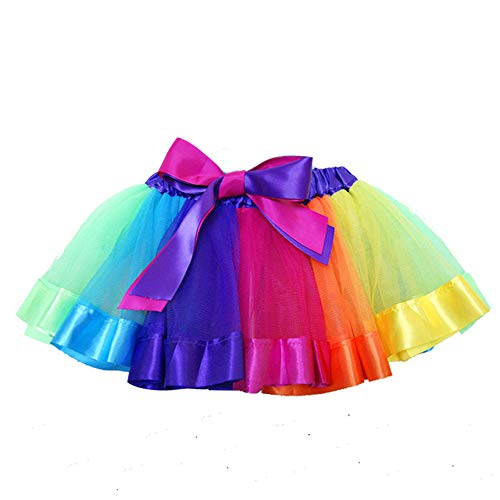 SENLIXIN Layered Skirt Girls' Mini Rainbow Tutu Skirt Bow Dance Dress Colorful Ruffle Tiered Tulle (M/ 2-5 Years, A) -