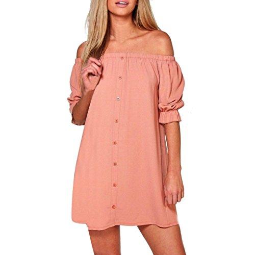 Short Dress,Women Short Lantern Sleeve Off Shoulder Elegant Plus Size Loose Casual Mini Dress