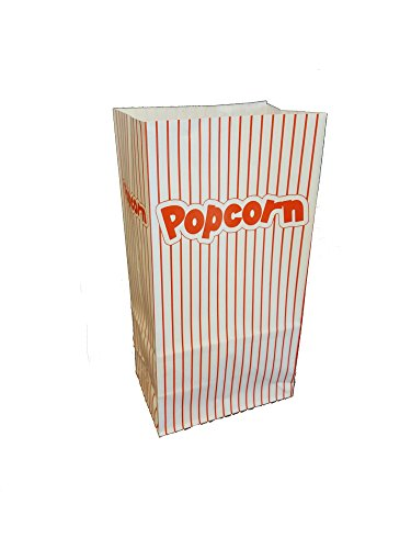 Red and White Striped Paper Popcorn 24 Bags - Bonus 1 Movie Night Snack Tray (Plus Party Planning Checklist by Mikes Super Store)