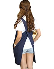 Soft Cotton Linen Apron Solid Colour Halter Cross Bandage Aprons Japanese Style X Shape Kitchen Cooking Clothes Gift for Women Chef Housewarming (Navy Blue)