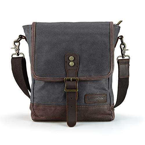 SHANGRI-LA Small Messenger Bag for Men and Women Waxed Canvas Purse Waterproof Crossbody Satchel Bag Sling Pack