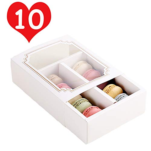 10 Packs Macaron Boxes 6.1x4.9x2 Inches, Macaron Box for 10 Macaron Packaging Boxes & Candies Cookies Container with Clear Window (Matte Gold, 10 Pcs without Macarons inside) -