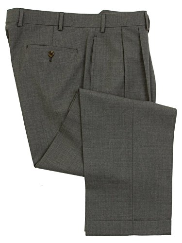 Ralph Lauren Mens Double Pleated Medium Gray Wool Dress Pants - Size 35 x30 (Grey Pants Dress Pleated)
