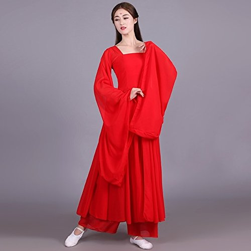 han tang dynasties classical dance costume han chinese clothing women girls wide sleeves stream cents skirt fairy costume chinese dance performances cool show (bob ribbon feeding red eyebrows paste -