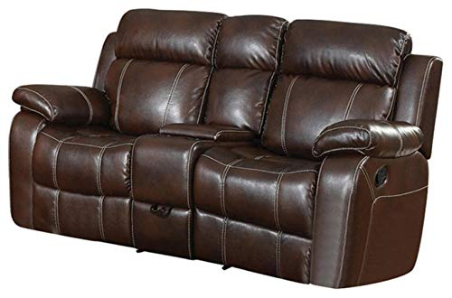 - Coaster Home Furnishings Myleene Glider Loveseat with Console and Cup Holders Chestnut