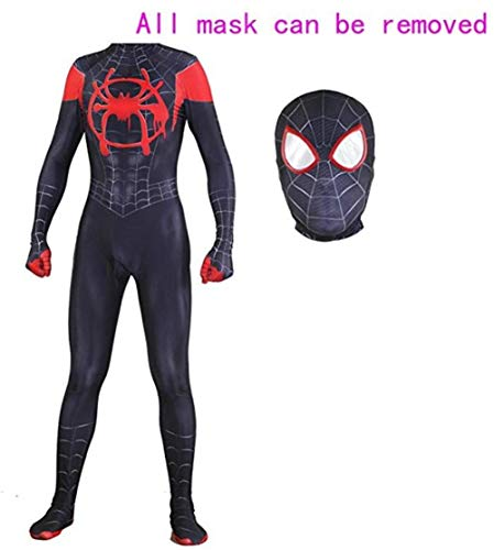 (Unisex Lycra Spandex Halloween New into The Spider Verse Miles Morales Cosplay Costumes Adult/Kids 3D Style)