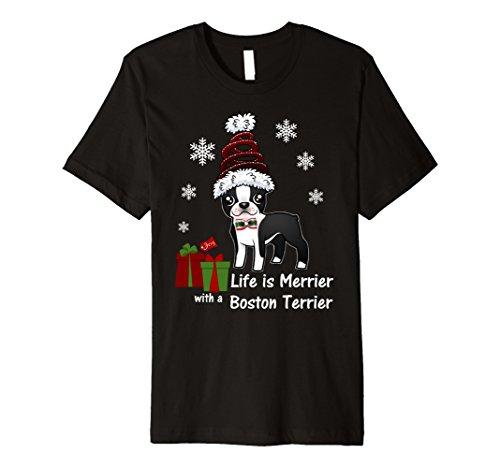 rrier Christmas T Shirt-Life Is Merrier XL Black (Boston Terrier Christmas)