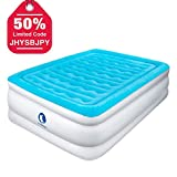 CANWAY Air Mattress, Elevated Raised Comfortable Inflatable Airbed with Built-in Electric Pump Queen Size Height 22'