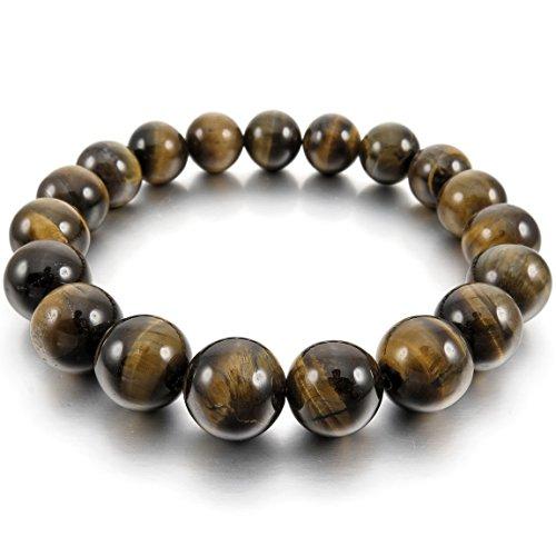 INBLUE Men,Women's 12mm Energy Bracelet Link Wrist Energy Stone Brown Buddha Mala Bead ()