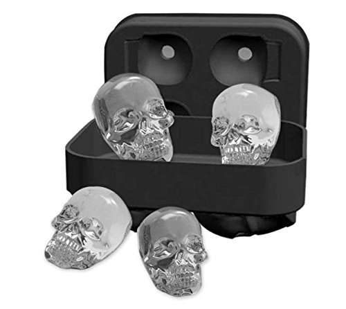 Party DIY 3D Skull Skeleton Black Ice Cube Silicone Tray molds Maker Kitchen Accessories