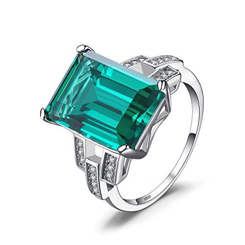 JewelryPalace Luxury 5.9ct Created Green Nano Russian Emerald Cocktail Ring 925 Sterling Silver Size 7