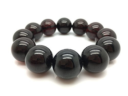 Natural Baltic Amber Bracelet Big Cherry Colour Beads 51,2g 20± mm size. by Mister Amber