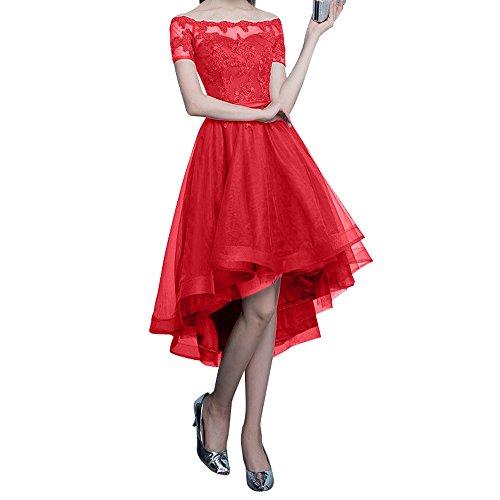 Kurz Tanzenkleider Rosa Kurzarm lo Charmant Promkleider Hi Ballkleider Spitze Abendkleider Rot Damen F7wqwSBnx1