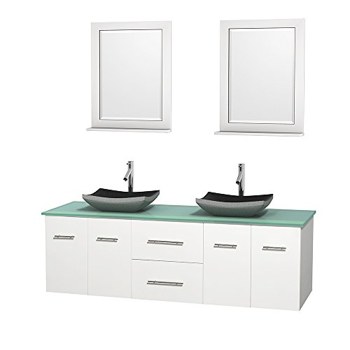 UPC 799559215552, Wyndham Collection Centra 72 inch Double Bathroom Vanity in Matte White, Green Glass Countertop, Altair Black Granite Sinks, and 24 inch Mirrors