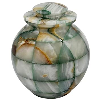 Silverlight Urns Mosaic Green Onyx Cremation Urn, Natural Stone Urn for Ashes, Adult Sized, 9.75 Inches Tall