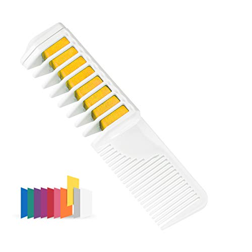 Maydear Temporary Hair Chalk Comb - Non Toxic Hair Color Comb and Safe for Kids (Yellow) ()