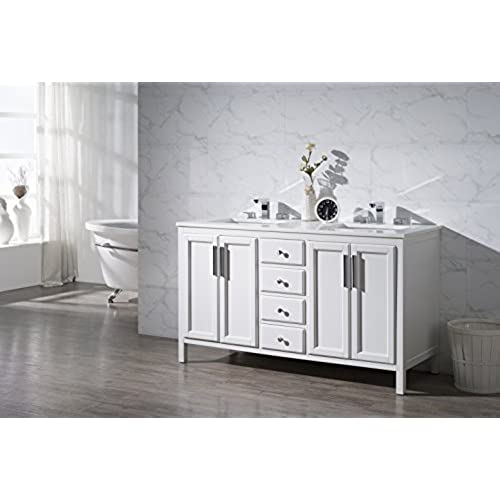 Amazing Stufurhome TY 6262 59 Q Emily Double Sink Bathroom Vanity Set, 59 In. W X  22 In. D X 33.5 In. H,
