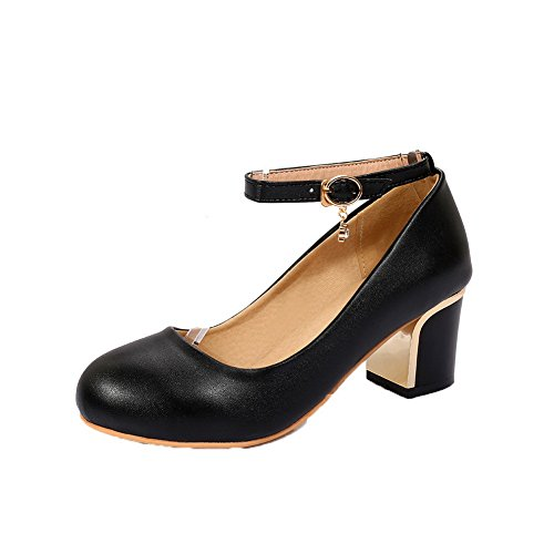 Black 36 Closed Buckle Solid WeiPoot Toe Shoes PU Kitten Heels Pumps Women's OFPPARwqv