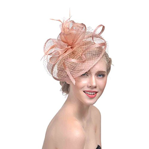 How To Make Felt Hair Clips - Women's Organza Church Kentucky Derby Fascinator Bridal Cap British Tea Party Wedding Hat (Champagne)