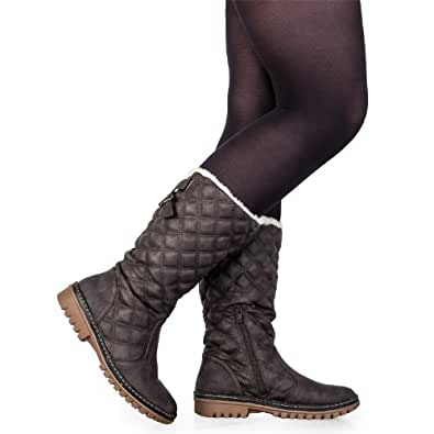 Amazon.com | 57C Womens Khaki Mid Calf Grip Sole Ladies