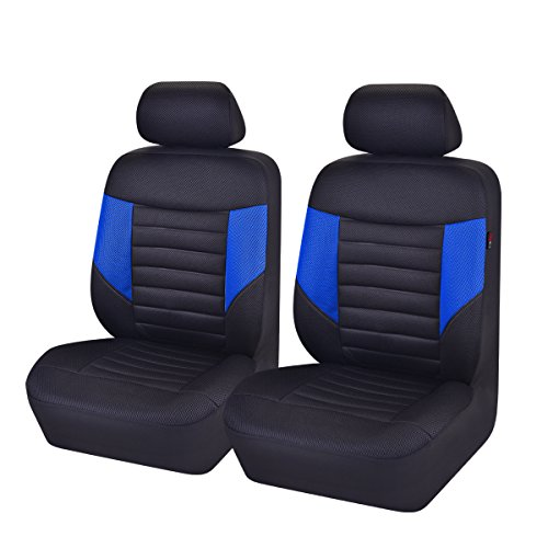 Cover Seat Front Blue (CAR PASS 6PCS Super Universal Automobile Front Seat Covers Set Package-Fit for Vehicles,Black and Gray with Composite Sponge Inside,Airbag Compatiable (Black and Blue))