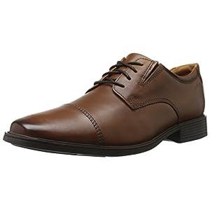 Clarks Men's Tilden Cap Oxford Shoe,Dark Tan Leather,8.5 W US