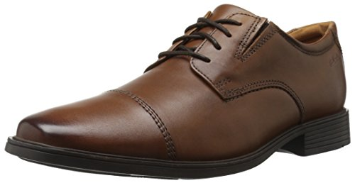 CLARKS Men's Tilden Cap Oxford Shoe,Dark Tan Leather,11.5 M US