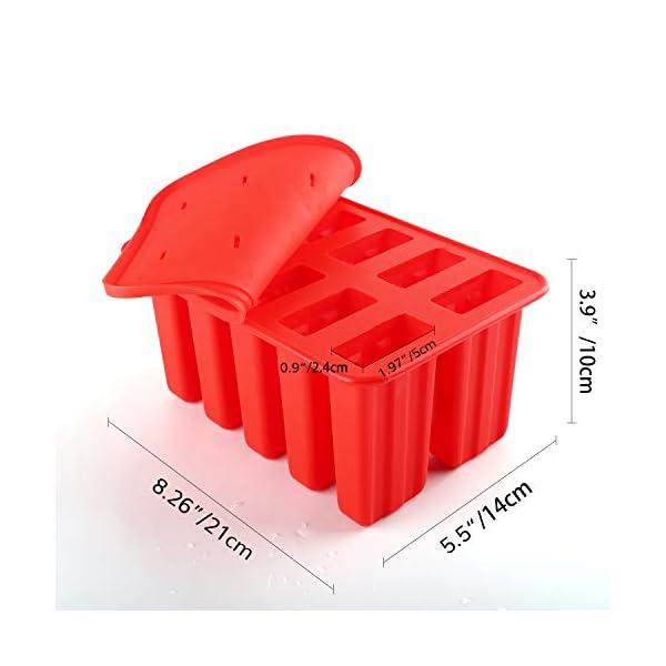 Nuovoware Stampo per Gelato, 10 Cavità Stampi Riutilizzabili in Silicone Senza BPA con Vassoio Produttori per Ghiaccioli… 3 spesavip